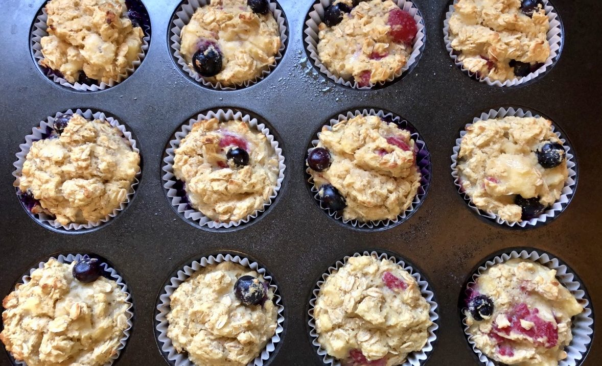 Gluten free berry oatmeal muffins